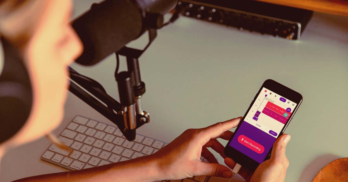 girl-recording-a-podcast-using-phone