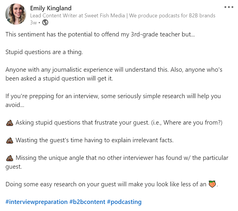emily-kingland-linkedin-post-on-guest-research